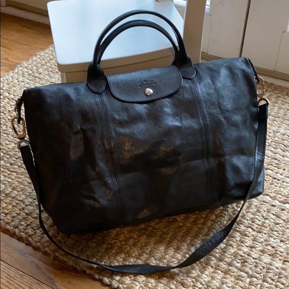 Longchamp Le Pliage Cuir Large Black Leather Bag